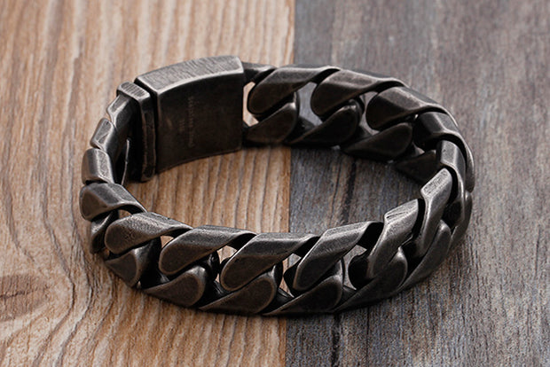 Retro Style 17mm Vintage Finished Dark Chain Titanium Steel Bracelet