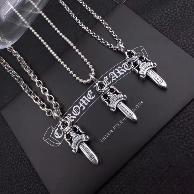 3 Sizes Dagger Pendants Chrome Style Solid 925 Sterling Silver Biker Punk Rock Jewelry
