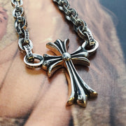 Floral Cross Pendant Necklace Solid 925 Sterling Silver