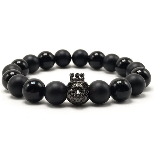 10mm Alternating Matte and Glossy Agate Pave CZ Lion Charm Bracelet