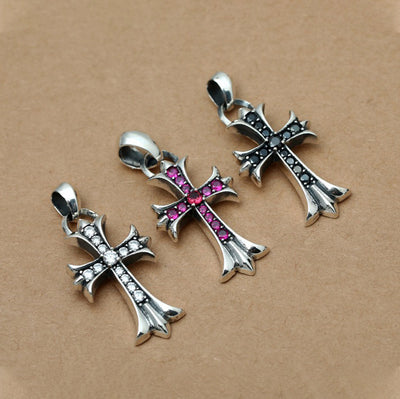 Cubic Zirconia Floral Cross Pendant Solid 925 Sterling Silver