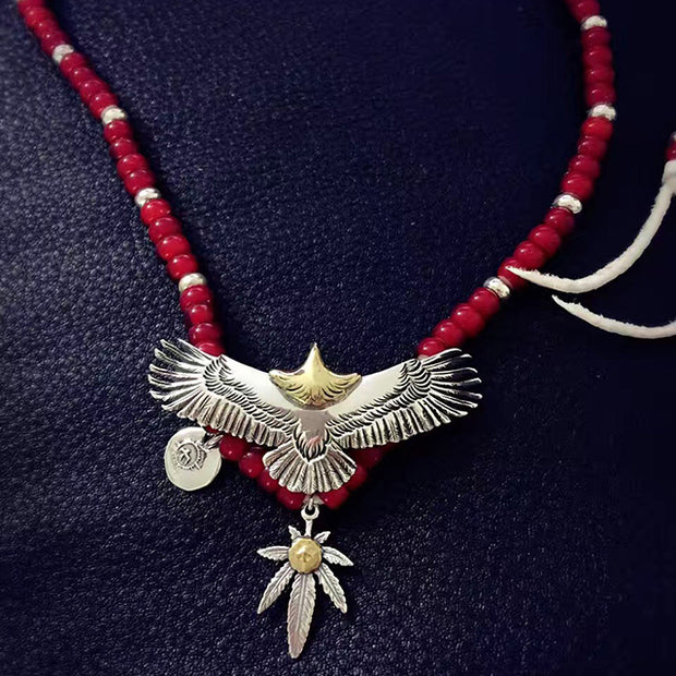 Goro's Style Native American Silver Eagle Necklace