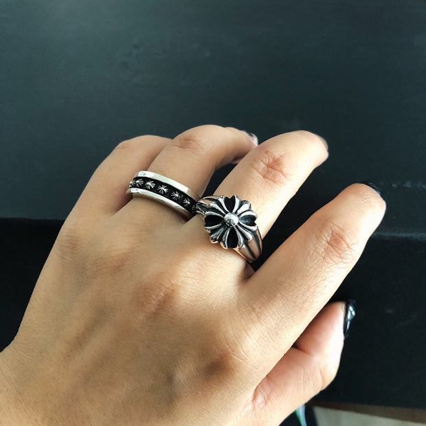 Floral Cross XBall Ring