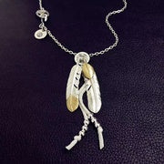 Goro's Style Golden Sunflower Leaf Decal Feather 925 Sterling Silver Necklace