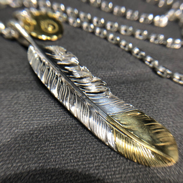 Silver Feather Gold Tag Pendant Necklace