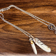 Silver Eagle Claw Feather Pendant Necklace