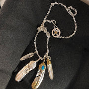 Silver Sunflower Leaf Top Feather Pendant Necklace