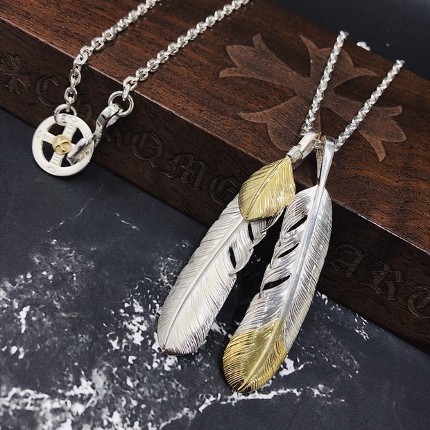 Silver Feather Sunflower Leaf Pendant Necklace