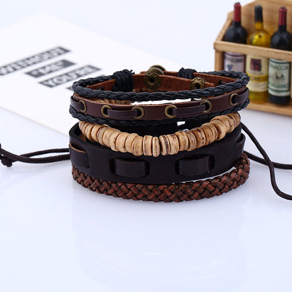 4 Pcs Leather Coconut Beads Handmade Bracelet