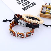 3 Pcs Leather Wood Beads Metal Bracelet