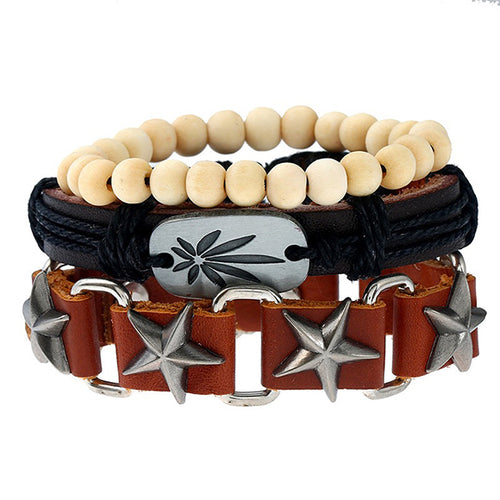 3 Pcs Leather Hemp Wood Beads Metal Bracelet