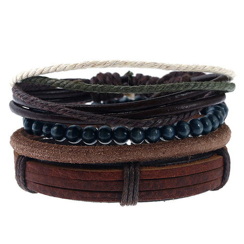 4 Pcs / Set Leather Hemp Wood Beads Handmade Bracelet