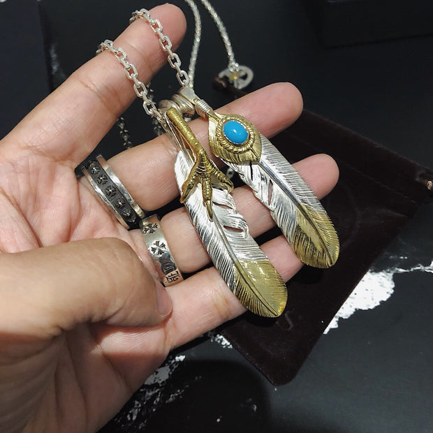Silver Feather Eagle Claw Pendant Necklace