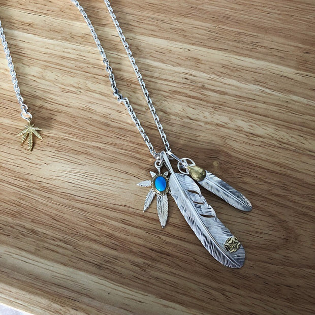 Silver Feather Pendant Hemp Leaf Charms Necklace