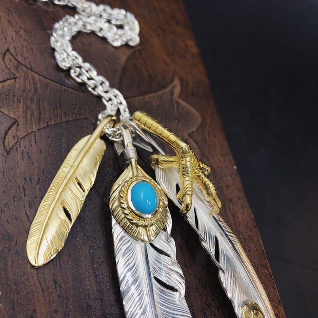 Silver Feather Pendant Eagle Claw Feather Charm Necklace