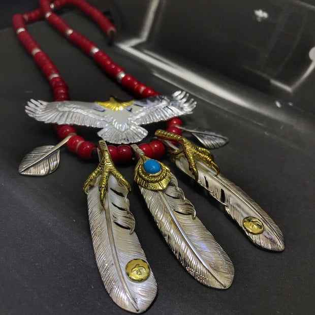 Silver Eagle Claw Feather Japanese Glass Beads Deer Leather Necklace Set