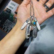 Silver Feather Eagle Claw Top Pendant Necklace