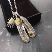 Silver Feather Sunflower Leaf Top Pendant Sea Urchin Charm Necklace