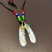 Goro's Style Silver Feather Pendant Deer Leather Glass Beads Necklace