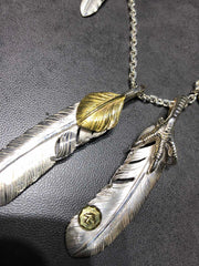 Silver Feather Sunflower Leaf Eagle Claw Pendant Brass Tag Necklace