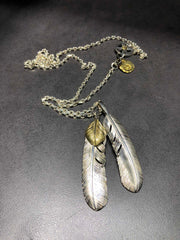 Silver Feather Sunflower Leaf Pendant Brass Tag Necklace