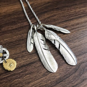 Silver Feather Silver Sunflower Leaf Top Pendant Necklace