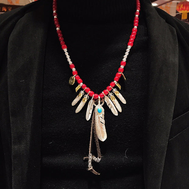 Silver Feather Pendant Charm Japanese Deer Leather Glass Beads Necklace