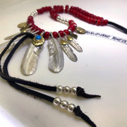Silver Feather Pendant Japanese Deer Leather Glass Beads Necklace