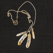 Silver Feather Sunflower Leaf Top Pendant Necklace