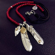 Goro's Style Shield Eagle Claw Feather 925 Sterling Silver Necklace
