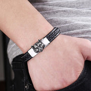 Tiger Bracelet, Premium Quality Leather 316L Stainless Steel