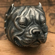 American Bully Dog Pit Bull Solid S925 Sterling Silver Ring [MTO]