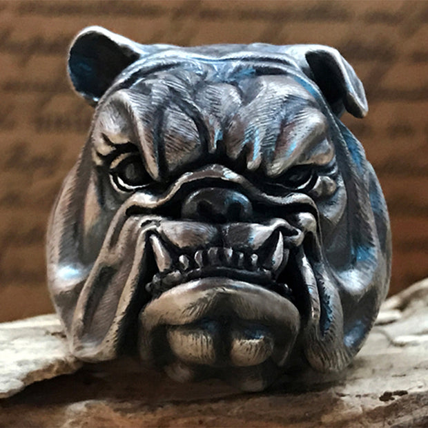 British Bulldog Solid S925 Sterling Silver Ring [MTO]