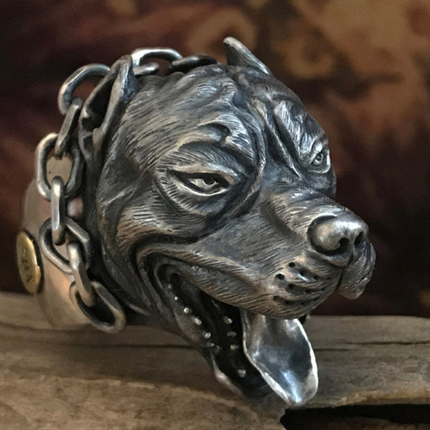 American Pit Bull Solid S925 Sterling Silver Ring