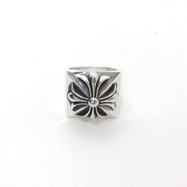 Chrome Hearts Style CH Plus Pyramid Ring