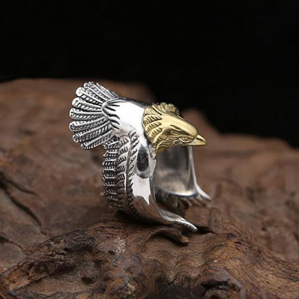 Sterling Silver Eagle Hawk Wrap Open Ring