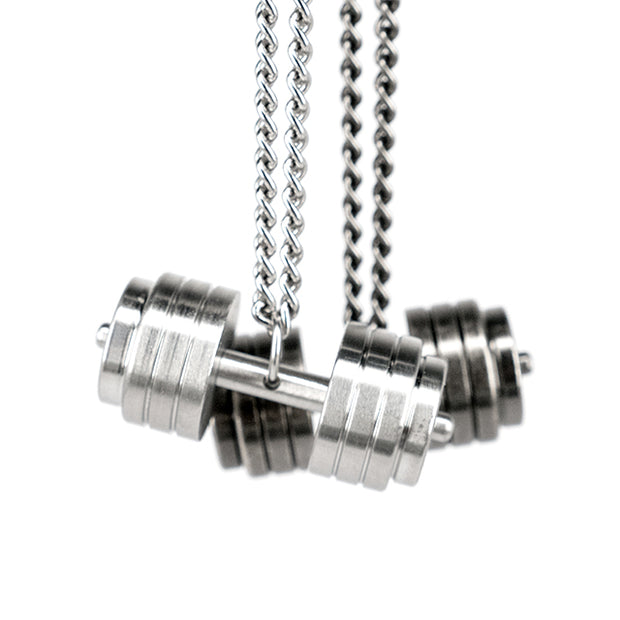 Fitness Gym Dumbbell Pendant Necklace [2 Variations]