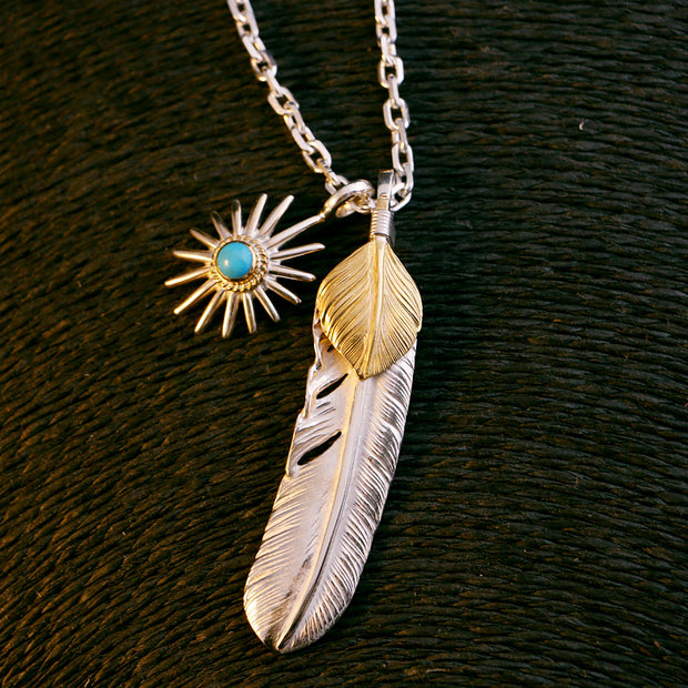 Silver Feather Sunflower Leaf Pendant Natural Turquoise Sea Urchin Charm Necklace