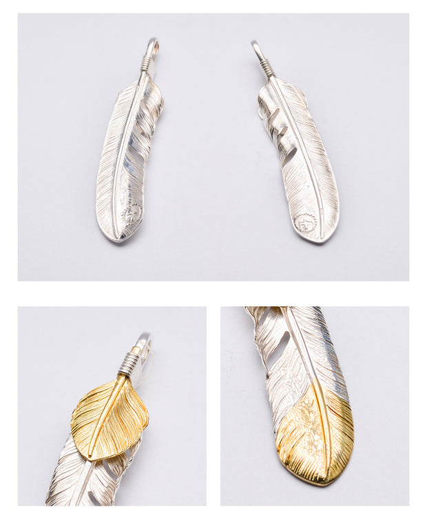 Silver Feather Leaf Top Pendant, Japanese Design, Native American Inspired, Tribal Jewelry
