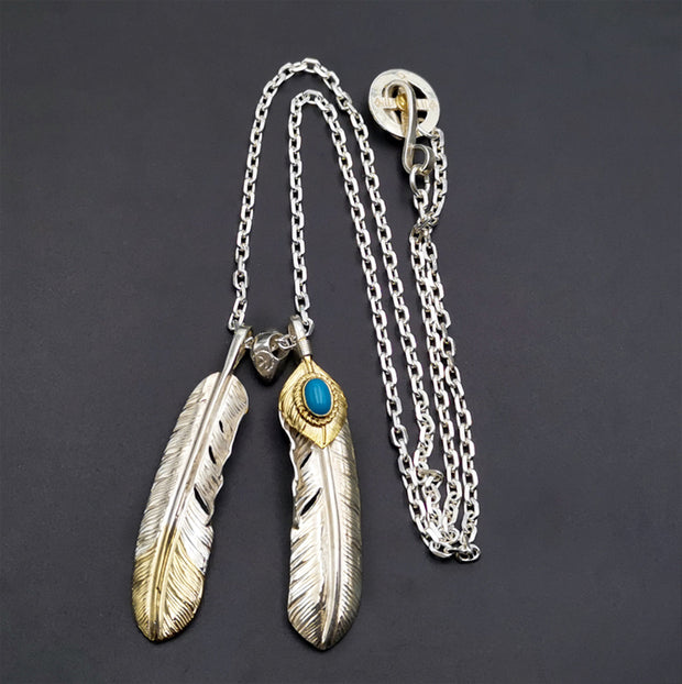 Silver Feather Natural Turquoise Pendant Necklace Native America Style Tribal Necklace