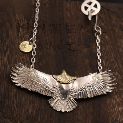 Silver Spared Eagle Necklace Native American Inspired
