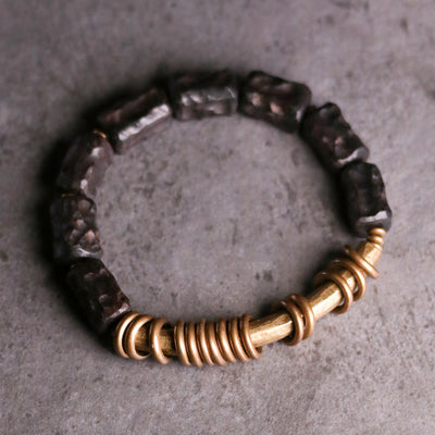 Natural Ebony Beads with Brass Bracelet