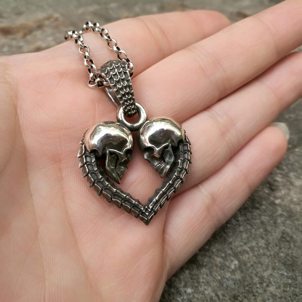 Silver Skull Spine Heart Pendant | Forever Love, Eternity, Love You to Death