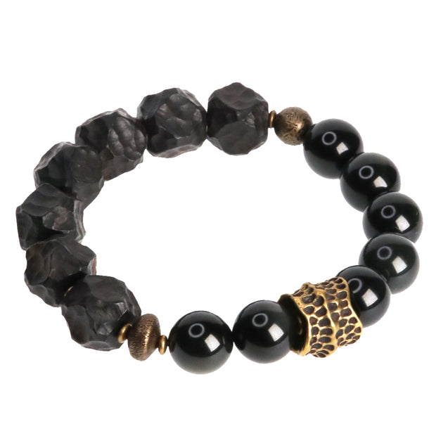 Natural Obsidian Sandalwood Beads Brass Charm Bracelet