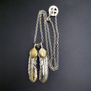 Silver Feather Natural Turquoise Necklace Set Native American Tribal Style