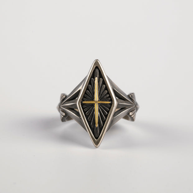 Minimalist Geometric Square Diamond Shaped 18K Solid Gold Cross Ring