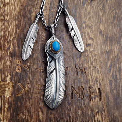 Natural Turquoise Silver Feather Necklace Native America Inspired Tribal Style
