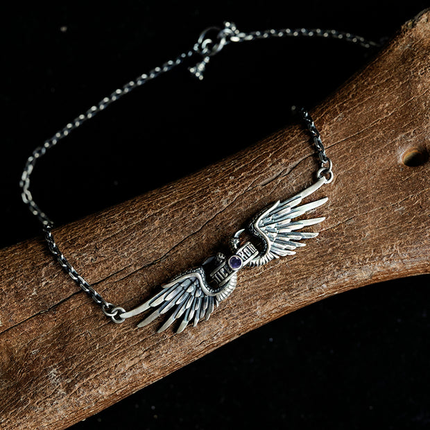 Movable Silver Angel Wings Gemstone Choker Necklace