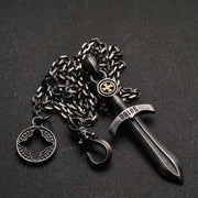 Gothic Medieval Silver Sword Pendant Necklace
