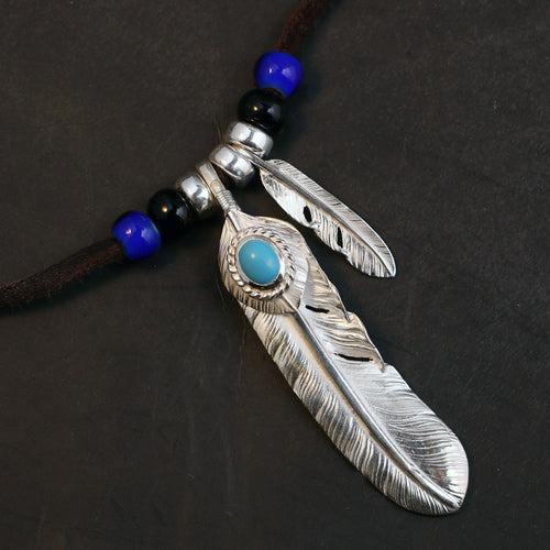 Silver Feather Pendant Charm Deer Leather Necklace